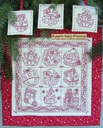 Holiday Nine Patch Redwork