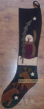 Prim Snowman Stocking