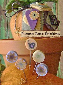 Carrot Patch Pincushion Pins and Buttons Set
