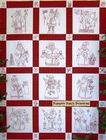 Here Comes Santa Redwork Quilt